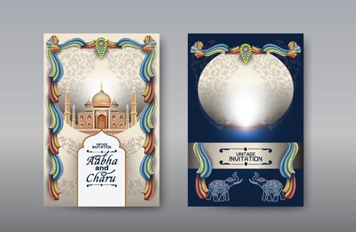 Taj Mahal background wedding invitation card vector