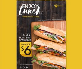 Tasty roast beef sandwich flyers vector