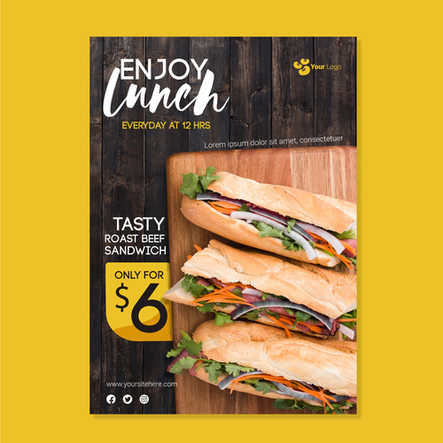 Tasty roast beef sandwich flyers vector