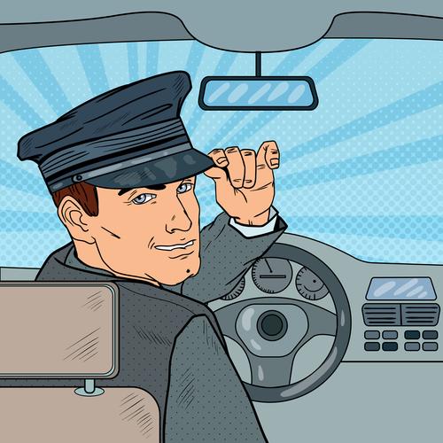 Taxi driver cartoon vector
