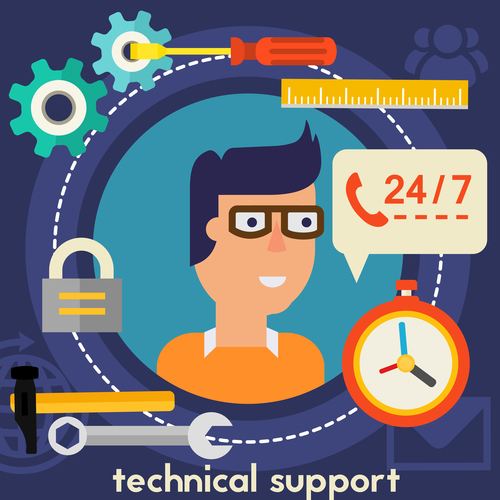Technical support flat concept vector