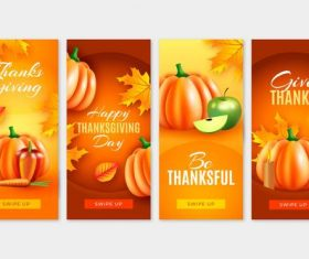 Thanksgiving swipe up banner greeting card vector