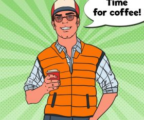 Time for coffee cartoon vector