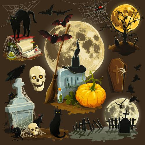 Tombstone black cat halloween element card vector