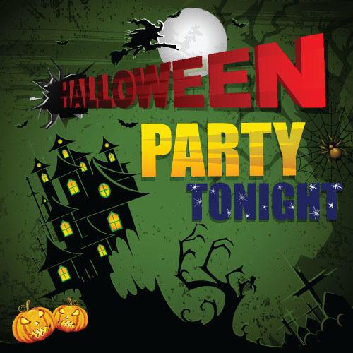 Tonight Halloween party invitation card vector