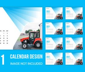 Tractor cover 2021 wall calendar vector