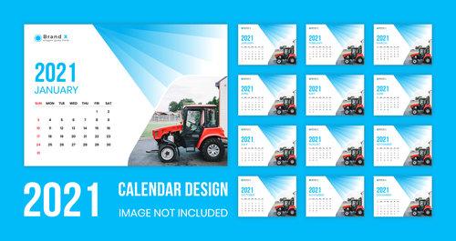 Tractor cover 2021 wall calendar vector