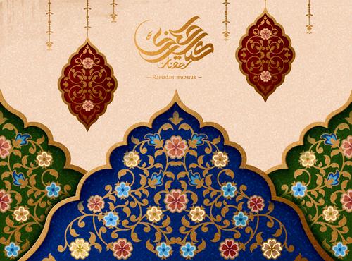 Traditional decorative illustration Ramadan mubarak vector