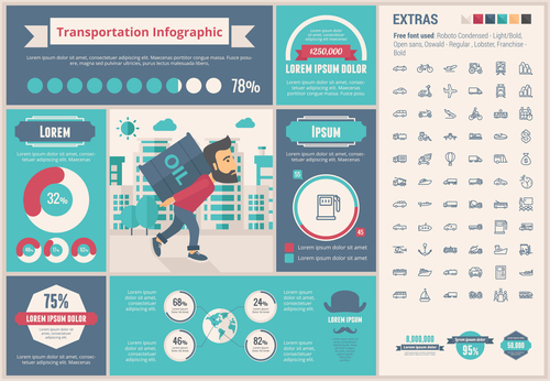 Transportation infographic vector