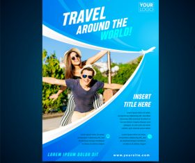 Travel around the world flyer vector