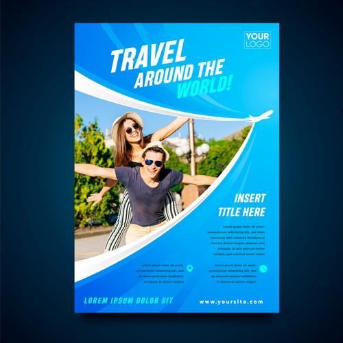 Travel around the world flyer vector