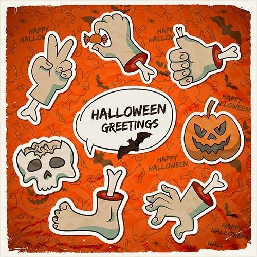 Trick or Treat halloween template with paper zombie arms gestures pumpkin skull vector