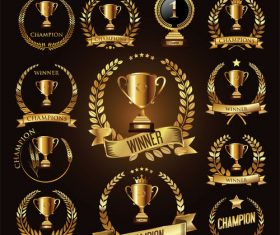 Trophy and awards laurel wreath golden vector