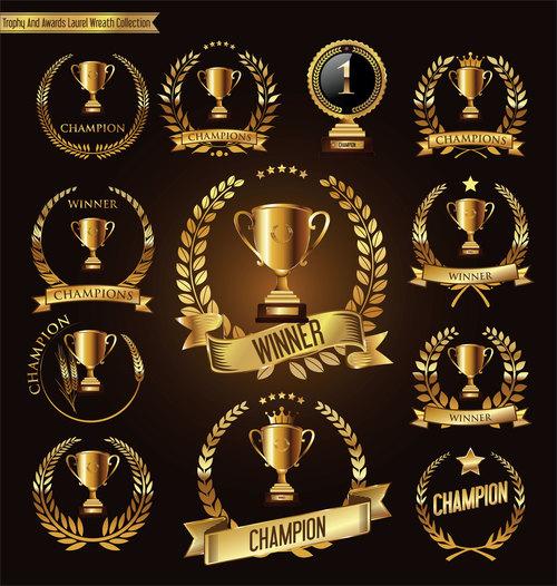 Trophy and awards laurel wreath golden vector