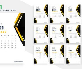Two-color background 2021 calendar vector