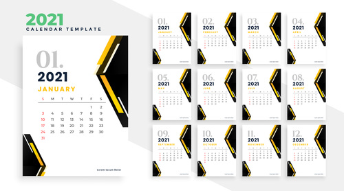 Two color background 2021 calendar vector