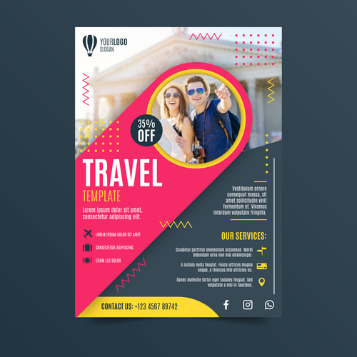 Two person travel flyer vector