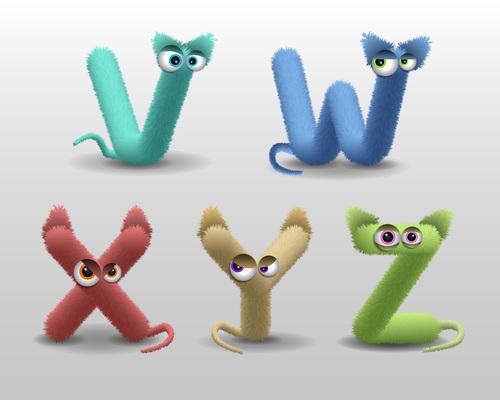 V fur monster alphabet vector