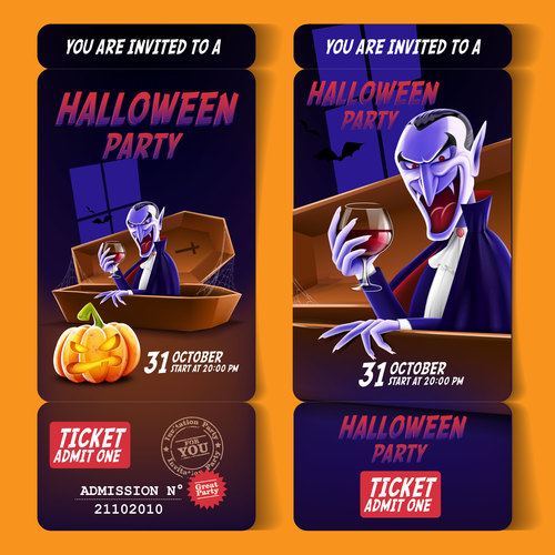 Vampire invites you to Halloween party banner vector