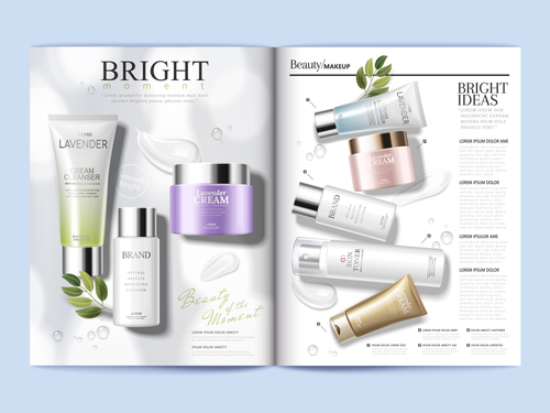 Various brand skin care products brochure cover vector