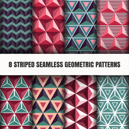 Various colored seamless geometric patterns vector