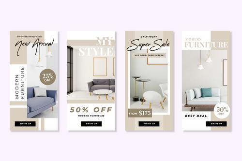 Various furniture discount sale flyer vector