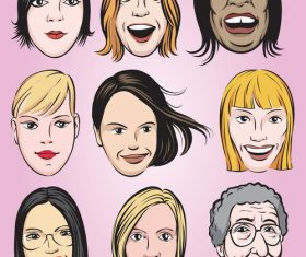 Various women faces collection vector