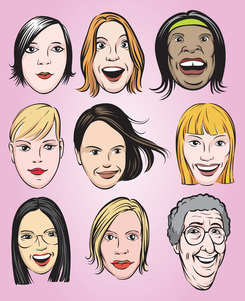 Various women faces collection vector