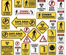 Various zombie icon set vector