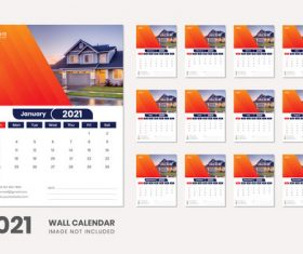 Villa background 2021 wall calendar vector
