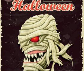 Vintage Halloween Mummy poster vector