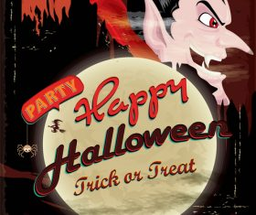 Vintage Halloween poster design vector