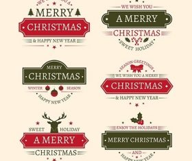 Vintage christmas badge collection vector