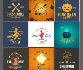 Vintage halloween party cards labels vector