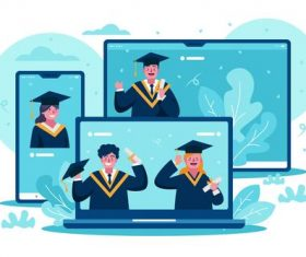 Virtual graduation award ceremony concept illustrations vector