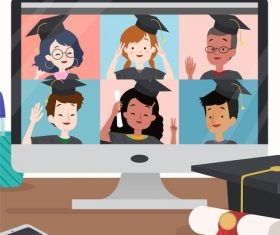 Virtual graduation concept illustration vector
