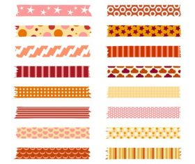 Warm color washi tape vector