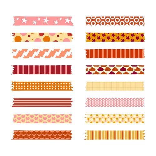 Warm color washi tape vector