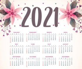 Watercolor flowers 2021 calendar vector