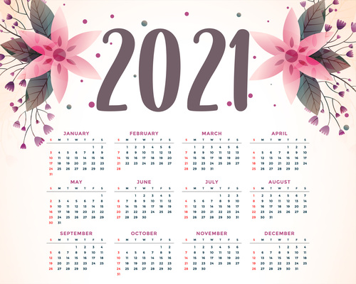Watercolor flowers 2021 calendar vector