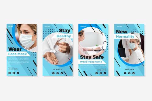 Wear face mask prevention corpnavirus flyer vector