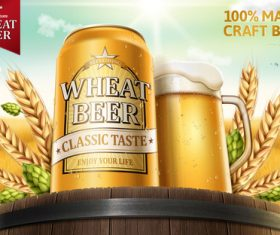 Wheat beer advertising vector