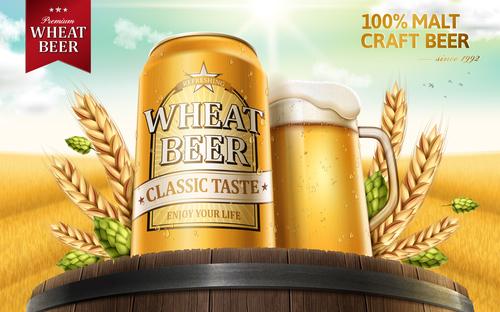 Wheat beer advertising vector