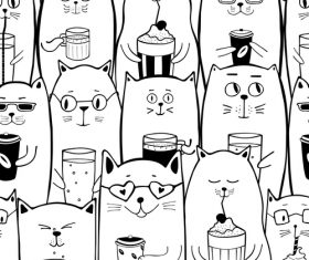 White cats with coffee drinks seamless pattern vector