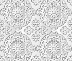 White decorative paper cut 3D flower pattern vector