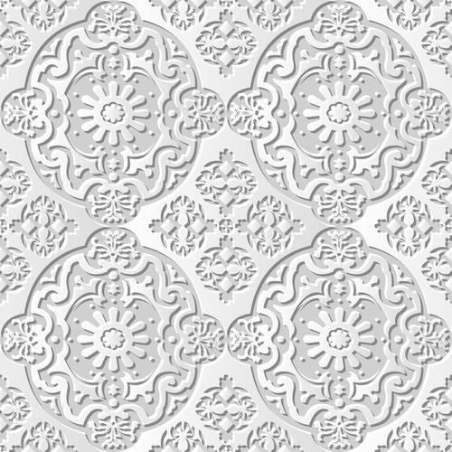 White decorative paper cut 3D flower pattern vector