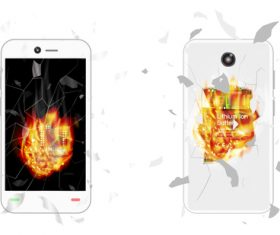 White mobile phone case flame cover vector