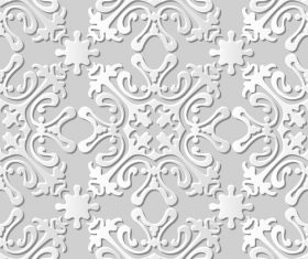White paper floral 3Dpattern vector