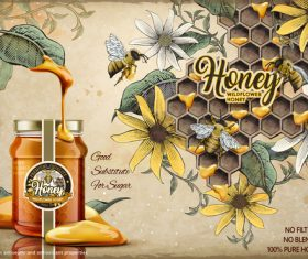 Wild honey advertising vector