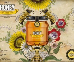 Wildflower honey advertising vector